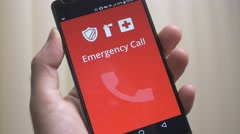 4K Emergency Call on Mobile Device Smartphone - stock footage