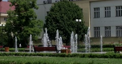 A Modern Splash Fountain in City Parck Stock Footage