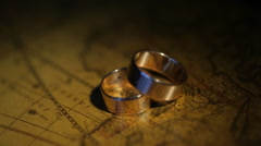 Animation of Golden Wedding Rings Stock Footage
