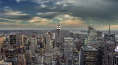 zooming out from breathtaking cityscape of Manhattan with Empire State 4K NYC  - stock footage