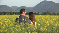 Man arranging rape flower in woman hair, sunny day, admiring nature Stock Footage