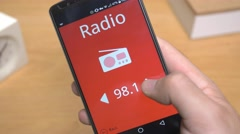 4K Radio app on Smartphone Mobile Device - stock footage