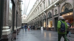 People walking in Galeries Royales Saint-Hubert of Brussels Stock Footage