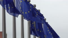 Flags in front of European Commission Stock Footage