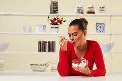 strawberries cream eating snack health healthy diet lunch weight loss yogurt - stock photo