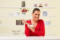 strawberries cream eating snack health healthy diet lunch weight loss yogurt - stock photo