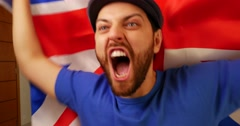 United Kingdom Fan Celebrating Stock Footage