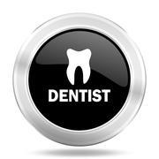 Dentist black icon, metallic design internet button, web and mobile app illus Stock Illustration