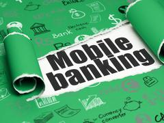 Money concept: black text Mobile Banking under the piece of  torn paper - stock illustration