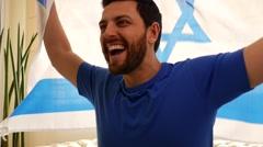 Israel Fan Celebrating in Slow Motion - stock footage
