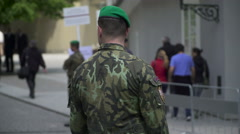 Czech Soldier Guard Administrative Building in Prague Castle. Portrait Stock Footage