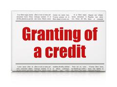 Currency concept: newspaper headline Granting of A credit - stock illustration