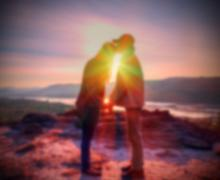 Abstract Blurred and soft photo of the lover on the hilltop Stock Photos