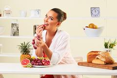fruit bread eating snack health healthy diet lunch weight loss - stock photo