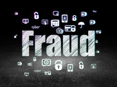 Protection concept: Fraud in grunge dark room - stock illustration