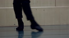 Feet of the classical male ballet dancer in the workout. Stock Footage
