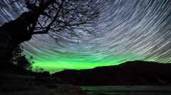 Bjoergvin | Aurora Glow and Startrails - II Stock Footage