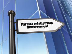 Finance concept: sign Partner Relationship Management on Building background - stock illustration
