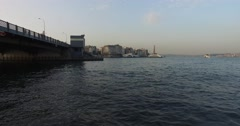 Golden Horn from Galata Bridge Stock Footage