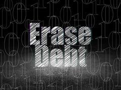 Finance concept: Erase Debt in grunge dark room - stock illustration
