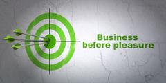 Finance concept: target and Business Before pleasure on wall background - stock illustration