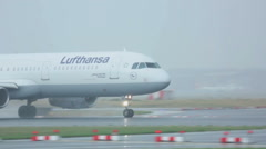 Airbus 321 accelerating before take-off - stock footage