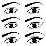 Eye make up technique  with use of  Eyeliner in Asian style  tutorial Stock Illustration