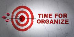 Time concept: target and Time For Organize on wall background Stock Illustration