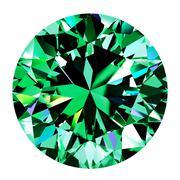 Emerald Round Over White Background - stock illustration