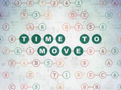 Timeline concept: Time to Move on Digital Data Paper background - stock illustration