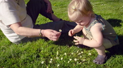 Grandmother and granddaughter playing with dandelion flower in park Stock Footage