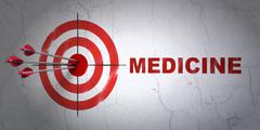 Healthcare concept: target and Medicine on wall background - stock illustration