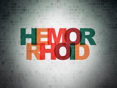 Medicine concept: Hemorrhoid on Digital Data Paper background - stock illustration