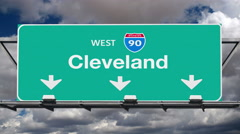 Cleveland Interstate 90 Overhead Highway Sign with Time Lapse Clouds - stock footage