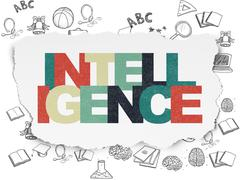 Studying concept: Intelligence on Torn Paper background Stock Illustration