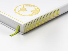 Studying concept: closed book, Globe on white background Stock Illustration