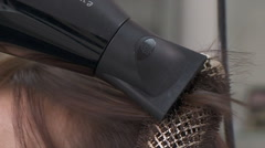 Drying Female Hair With Blow-Dryer Stock Footage