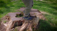Boy walking on tree stump in park Stock Footage