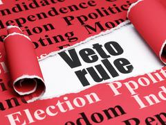 Politics concept: black text Veto Rule under the piece of  torn paper - stock illustration