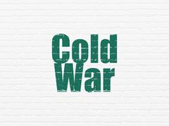 Politics concept: Cold War on wall background - stock illustration