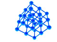 A molecular structure in a dark blue color is executed on a white background Stock Illustration