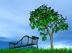 Metallic bench under a lonely standing tree on a background cloudy sky Stock Illustration