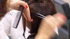 Hairdresser Cutting Dark Female Hair Stock Footage