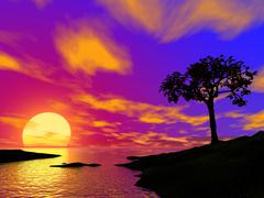Silhouette of a be single tree on sunset in rocky locality Stock Illustration