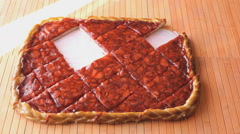 Hand puts piece of the strawberry pie on a saucer Stock Footage