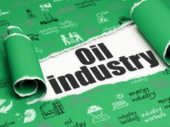 Manufacuring concept: black text Oil Industry under the piece of  torn paper - stock illustration