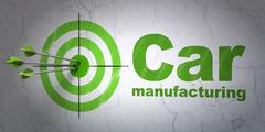 Industry concept: target and Car Manufacturing on wall background Piirros