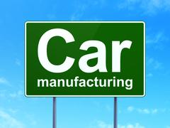 Industry concept: Car Manufacturing on road sign background Piirros
