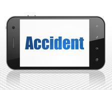Insurance concept: Smartphone with Accident on display Stock Illustration