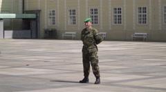 Czech Soldier Guard Administrative Building in Prague Castle Stock Footage